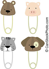 baby animals safety pins