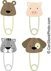 baby animals safety pins