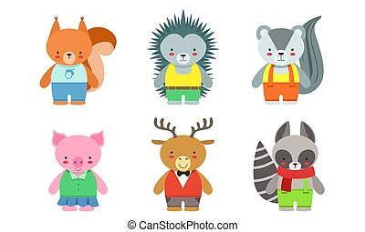 Cute Baby Animals Set, Badger, Fox, Hedgehog, Piglet, Deer, Raccoon Vector Illustration
