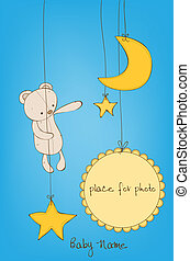 Cute Baby Arrival Card with Photo Frame and place for your text