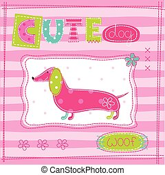 Cute baby background with funny dog 2.eps - Cute pink baby...