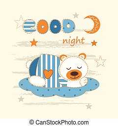 Cute baby background with sleeping bear