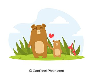 Cute Baby Bear and Parent, Happy Wild Florest Animals Family Cartoon Vector Illustration