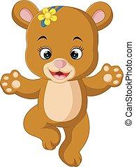 cute baby bear dancing cartoon