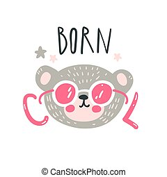 Cute baby bear. Hand drawn vector illustration. For kid's or baby's shirt design, fashion print design, graphic, t-shirt, kids wear.