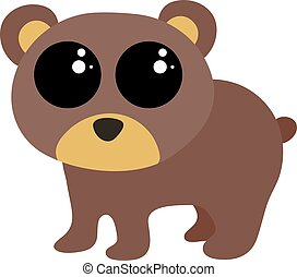Cute baby bear, illustration, vector on white background.