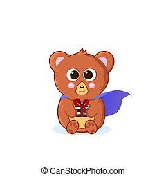 Cute baby bear superhero. Sits with a gift. Vector illustration in cartoon style. isolated white background