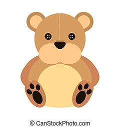 cute baby bear teddy toy isolated icon