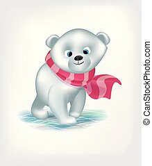 cute baby bear with scarf vector illustration