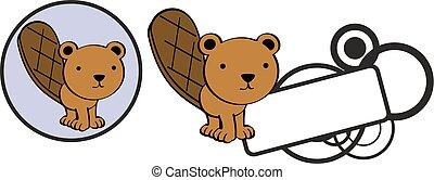 cute baby beaver cartoon copyspace