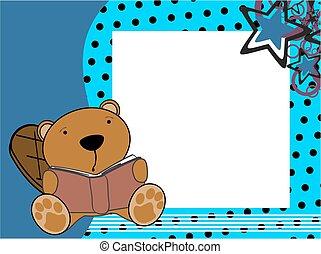 cute baby beaver reading cartoon