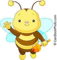 Cute baby Bee - Friendly Cute Baby Bee with rattle