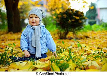 cute baby boy among fallen leaves in autumn park