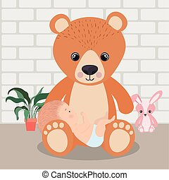 Cute baby boy and teddy bear vector design