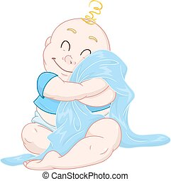 Cute Baby Boy Hugs Blue Blanket