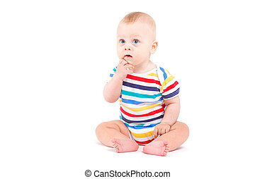 cute baby boy in colorful shirt