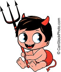 Cute baby boy in Halloween devil costume. Vector illustration