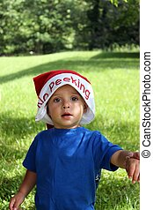 Cute baby boy in Santa Hat