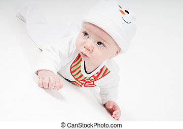 Cute baby boy in snowman costume