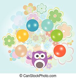 cute baby boy owl and flowers vector illustration