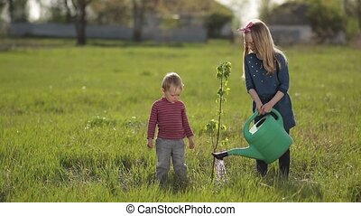 Cute baby boy planting tree with sister in garden