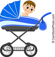 Cute baby boy sitting in stroller. Illustration