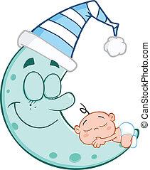Baby Boy Sleeps On Blue Moon