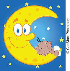 Cute Baby Boy Sleeps On The Moon