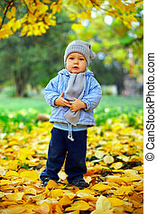cute baby boy stands among fallen leaves in autumn park