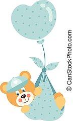 Cute baby boy teddy bear flying with blue heart balloon