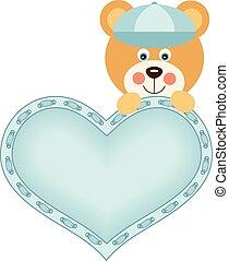 Cute baby boy teddy bear with blue heart
