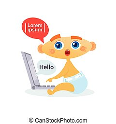 Cute Baby Boy Using Laptop Computer Toddler Happy Cartoon Infant In Diaper Surfing Internet