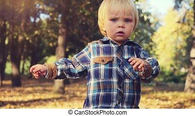 Cute baby boy walking in autumn park in slowmotion. 1920x1080