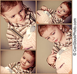 cute baby boy with cake. Collage
