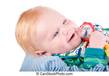 Cute Baby boy's portrait with bauble