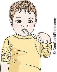 cute Baby brushing teeth