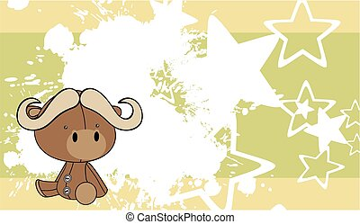 cute baby bull cartoon background