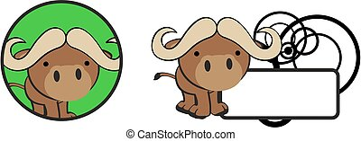 cute baby bull cartoon copyspace