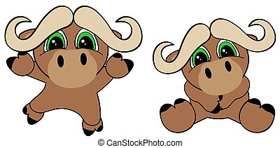 cute baby bull cartoon jumping sit