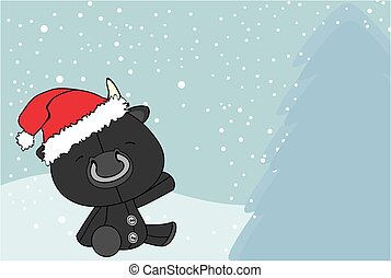 cute baby bull cartoon xmas background card