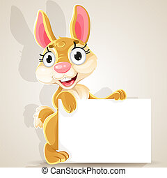 Cute baby bunny with a blank banner