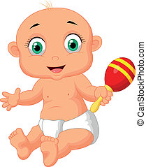 Cute baby cartoon playing with maca