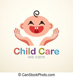 Cute baby cartoon vector flat icon, adorable happy and smiling child emoji. With mother or nanny tender hands of care. Can be used as a logo.