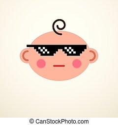 Cute baby cartoon vector flat icon, cool child with pixel...