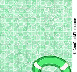 soap bubbles on tiled green and white bathroom wall background