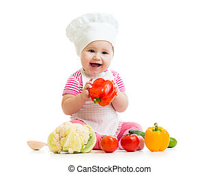 cute baby chef with healthy  food vegetables, isolated on white