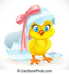 Cute baby chick just hatched from an Easter egg