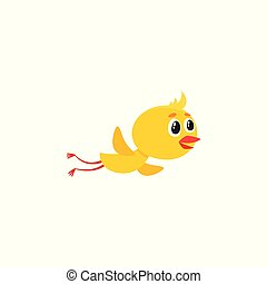 Cute baby chicken character flying, flapping wings