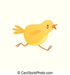 Cute baby chicken running, funny cartoon bird character vector Illustration on a white background