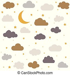 Cute baby clouds, stars, moon pattern vector seamless